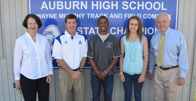 (L to R): Executive Director of the Community Foundation of East Alabama Barbara Patton, Assistant Athletic Director Ed Crum, Jonathan Smith, Mattie McLawhorn, Auburn City Council member and CFEA Chair Dick Phelan.